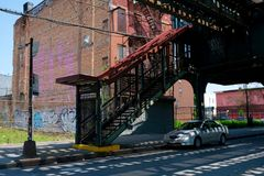 Subway entrance in Brooklyn, New York City royalty free stock images