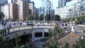 Subway entrance at Columbus Circle in Manhattan stock video footage