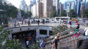 The Subway entrance at Columbus Circle in New York. Subway entrance at Columbus Circle in New York stock video footage