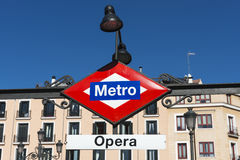 Subway entrance, Opera, Madrid Royalty Free Stock Photos