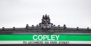 Subway entrance sign at Copley Station in Boston. Subway entrance sign with elaborate carving at Copley Station in Boston, Massachusetts, with copy space Royalty Free Stock Image