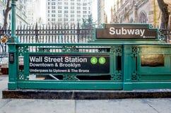 Subway entrance at Wall Street Royalty Free Stock Photo