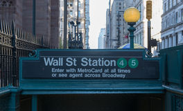 Subway entrance, Wall Street, New York Royalty Free Stock Photos