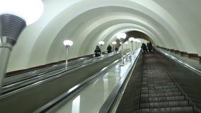 Subway escalator moving up