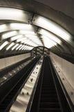 Subway escalators. Closeup detail of the empty subway escalators Stock Photos