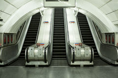 Subway escalators with no commuters Royalty Free Stock Image
