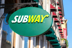 Subway fast food restaurant sign. Subway is an American fast foo Stock Images