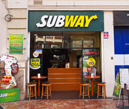 Subway fast food restaurant in Valencia, Spain. Subway Royalty Free Stock Images