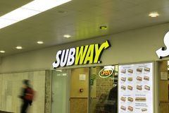 Subway fast food restaurant in Warsaw. February 23,2019 stock images