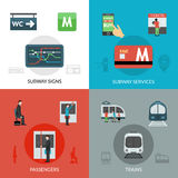 Subway Icons Set Royalty Free Stock Photo