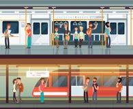 Subway inside with people man and waman. Metro platform and train interior. Urban metro vector concept. Illustration of metro platform, underground station Stock Photos