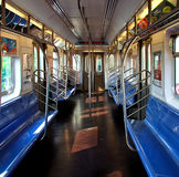 Subway Interior. View of interior of a clean subway car starting its route Stock Photos