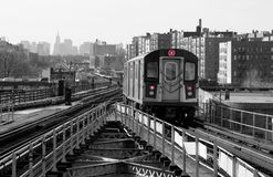 Subway Line. Subway car on elevated track Royalty Free Stock Photos