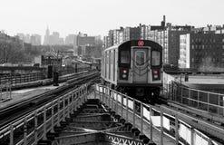 Subway Line. Subway car on elevated track royalty free stock photos