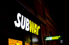 Subway logo. Subway is an American fast food restaurant franchise that primarily sells submarine sandwiches and salads Royalty Free Stock Images
