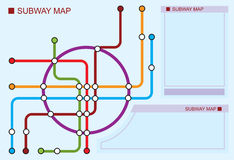 Subway map. Color scheme of underground lines Stock Photos