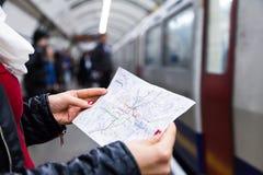 Subway map of metro lines Stock Photos