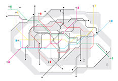 Subway map, a network of underground Royalty Free Stock Photo