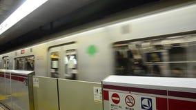 Subway marunouchi line running go to Tokyo city stock video