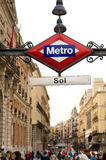 Subway or Metro sing in Puerta. Del Sol. Madrid, Spain Stock Photos