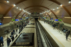 Subway Metro station in Sofia, Bulgaria. Subway train arrives at platform in Metro station in Sofia, Bulgaria stock photo