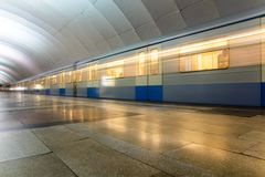 Subway metro train arriving at a station Royalty Free Stock Photo