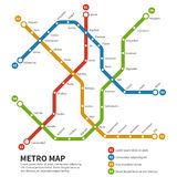 Subway, metro vector map. Template of city transportation scheme Royalty Free Stock Images