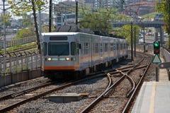 Subway moving on rails Stock Images