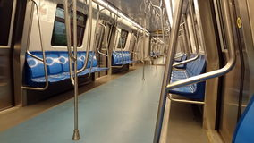 Interior of the subway train. New wagon empty Stock Photos