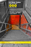 Subway in New York. A New York subway station stairway at 49th Street for Uptown and Queens Stock Image