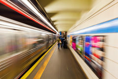 Subway in New York City with zoom effect Stock Photography