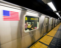 Subway. New York subway train moving through station Stock Images