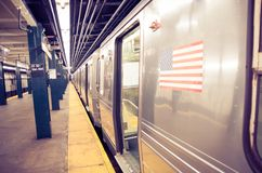 Subway in New York. Subway train in New York - Train wagons on shelter Royalty Free Stock Image