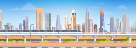 Subway Over City Skyscraper View Cityscape Background Skyline. Flat Vector Illustration Stock Images