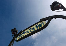 Subway in paris. Sign of metropolitan metro in the city of paris Stock Images