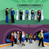 Subway passengers 2 flat banners composition Royalty Free Stock Image