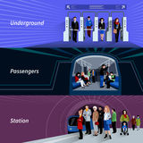 Subway passengers flat banners set. Subway passengers by payment checkpoints at the underground metro station flat banners set abstract isolated vector Royalty Free Stock Image