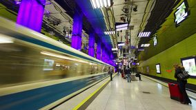 Subway and passengers in Munich stock footage