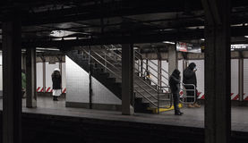 Subway passengers waiting in the cold for train Stock Image