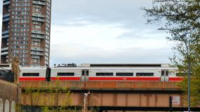 Subway passing flyover. In the city stock video footage