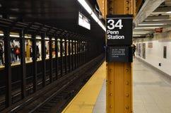 Subway Penn Station. Penn Station Subway Stop in Midtown Manhattan, New York City Royalty Free Stock Images