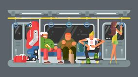 Subway with people flat design Royalty Free Stock Image