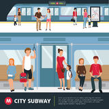 Subway People Illustration. People in city subway inside train and waiting at station flat vector illustration Stock Photos