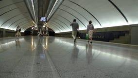Subway. People in underground station in Kiev, Ukraine stock video