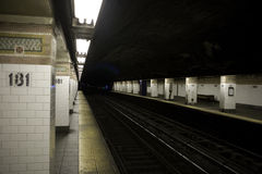 Subway platform New York City. A deserted platform at a New York City subway station Stock Photography
