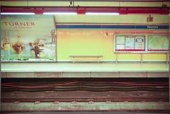 Subway platform stands empty between trains. A subway platform in Madrid, Spain,stands empty between trains Stock Photos