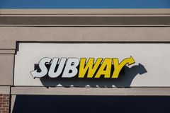 Subway is a privately held fast food restaurant. Blue Bell, PA - April 1, 2019: Subway is a privately held fast food restaurant franchise that serves sub stock photo
