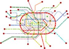 Subway public transportation map, vector. Public transportation map of a large city, fictional vector art,isolated on white background, free copy space Stock Photos
