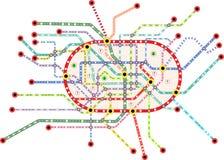 Subway public transportation map, vector stock illustration
