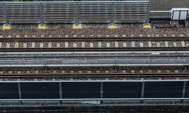 Subway rail and noise barrier aerial view. Subway rail and noise barrier royalty free stock image